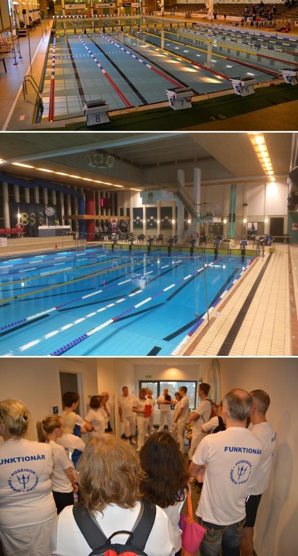 Lördag morgon - Överst bassängen i Jönköping, mitten Maserhallen i Borlänge underst funktionärssamling i Lund