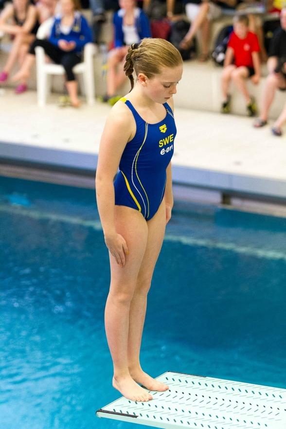 Linnea Sörensen (Malmö KK) är B-tjejen som vann 3m och placerade sig 9:a på en meter förra året, under söndagen har hon chansen att putsa niondeplatsen.