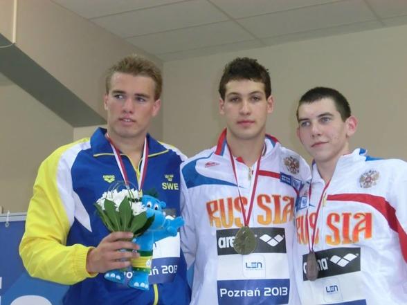 Andra medaljen för Johannes Skaguis när han idag tog silver på 100m bröstsim. Prispallen delade han med två ryssar.