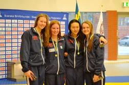 Helsingborgs segrande lag i äldsta tjejelagkappen över 4x100m fritt