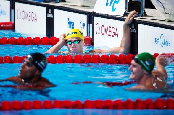 Johannes Skagius ser lite missnöjd efter 50m bröstsims finalen men det har han ingen anledning att vara. Gjorde sitt livs näst bästa lopp och simmade sin första senior-final.