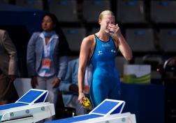 En trött Sarah Sjöström efter finalen.