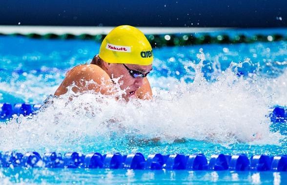Joahnnes Skagius stod för det första svenska rekord under VM - på 50m bröstsim. Tiden 27.57