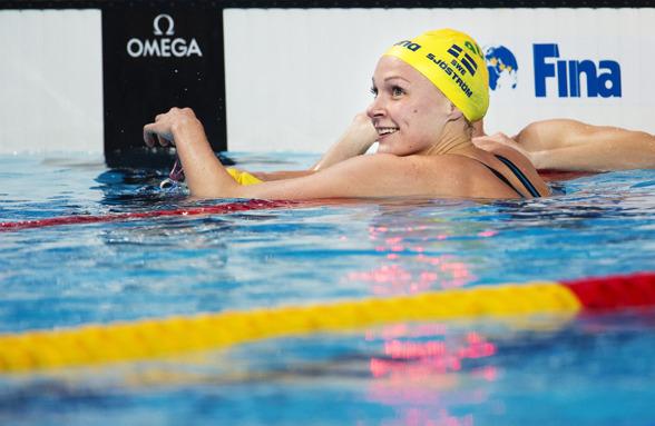 Sarah Sjöström leder 100m fritt efter semifinalen