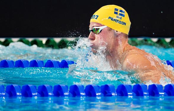 Svenskt Rekord och semifinalplats av Erik Persson i ett mycket bra lopp på 200m bröstsim