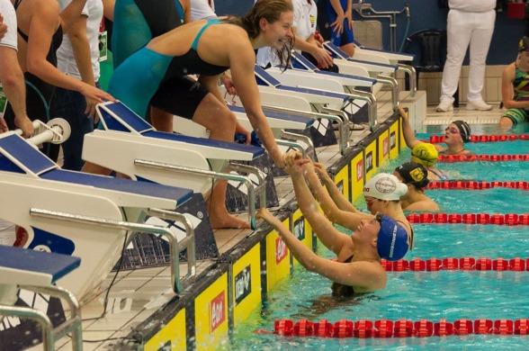 Rekord blev det på 4x100m fritt damer. Där Helsingborg slog juniorrekordet.