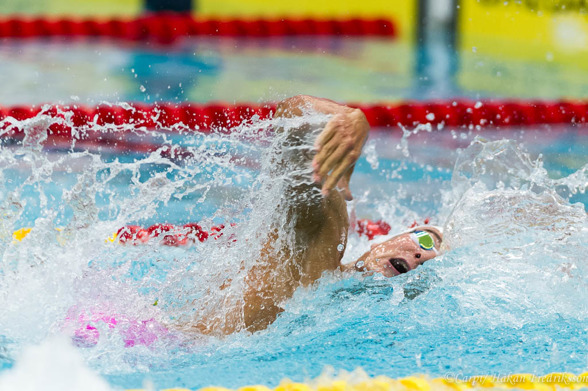 Christoffer Carlsen vann 100m fritt och tog därmed en trippel på 50-100-200m fritt
