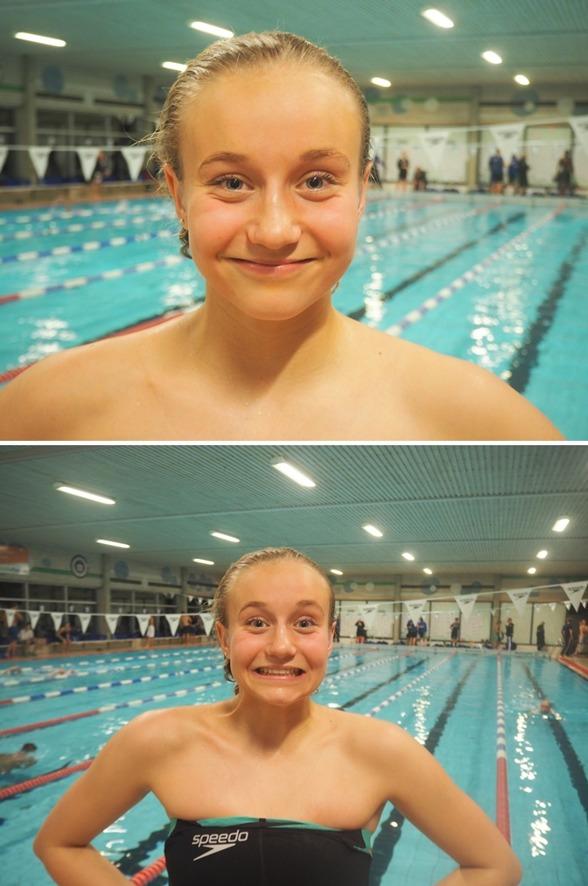 Så här glad kan man se ut om man heter Hanna Rosvall, kommer från Ängelholm och vunnit sitt första SM-guld i simning !!!