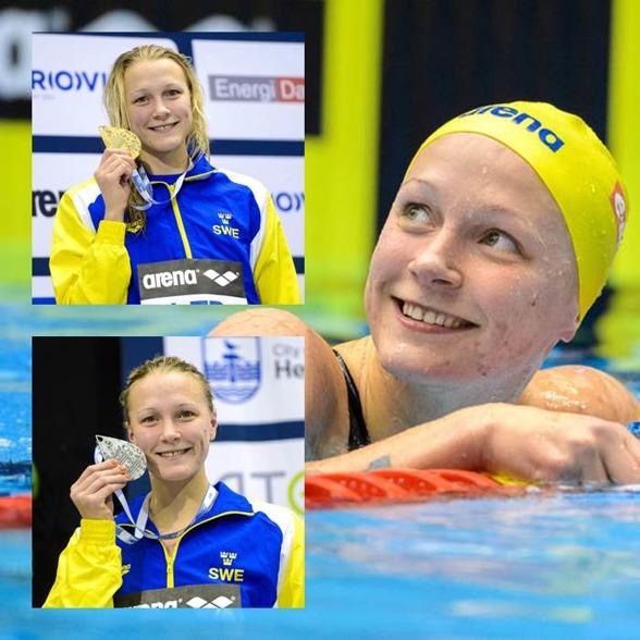2 x Sarah medaljer individuellt idag. 100m fjäril och 50m fritt
