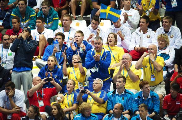 Svenska delar av deltagarläktaren under arbete