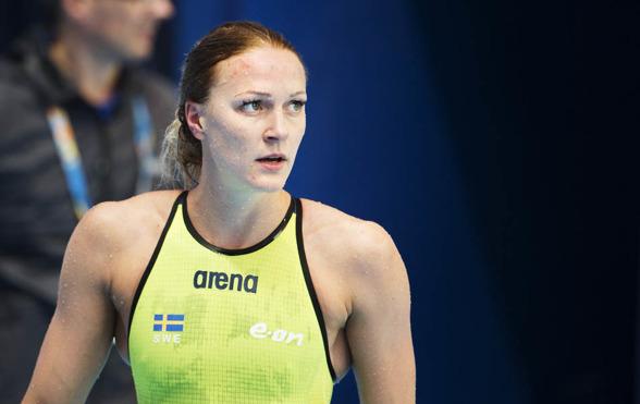 Sarah Sjöström från försöken som etta på 100m fjäril