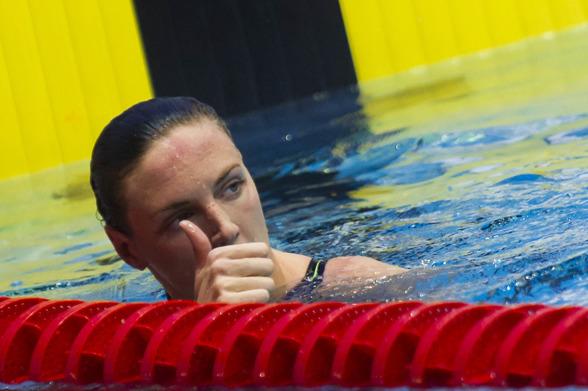 Katinka Hosszu vann 400m medley. 93/100-delar var hon som bäst under förmiddagens rekordtid (efter 200 meter) men blev trött på slutet och missade att slå ett nytt rekord.