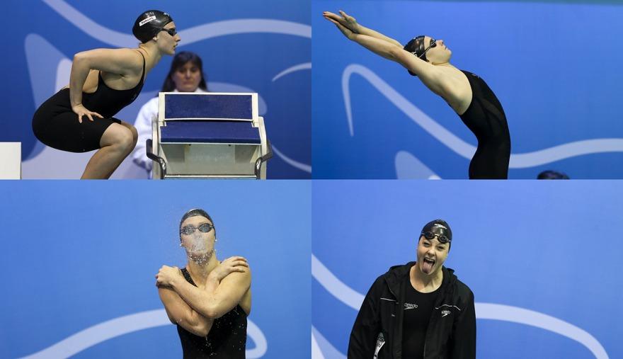 Katja Zaiser heter denna österrikiska simmerska. Mycket  jobb på bassängkanten, minsann...