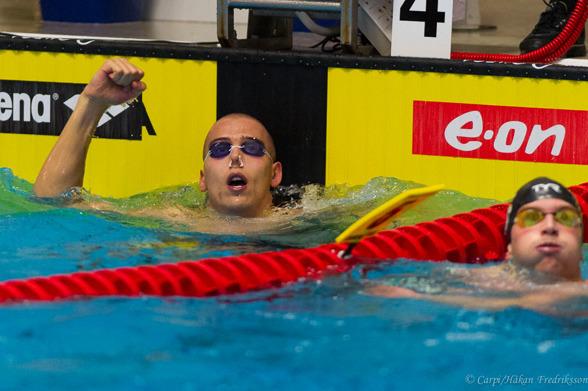 Sebastian Holmber vann 100m medley idag.