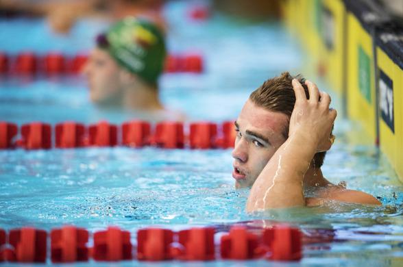 Johannes Skagius var inte helt belåten efter 50m bröstsim