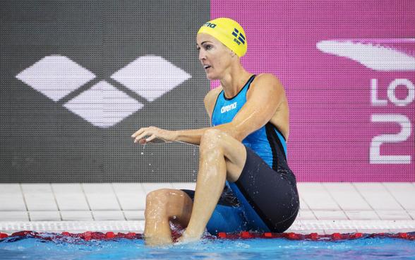 ThereseAlshammar till semifinalen på 50m fjärilsim i morse.