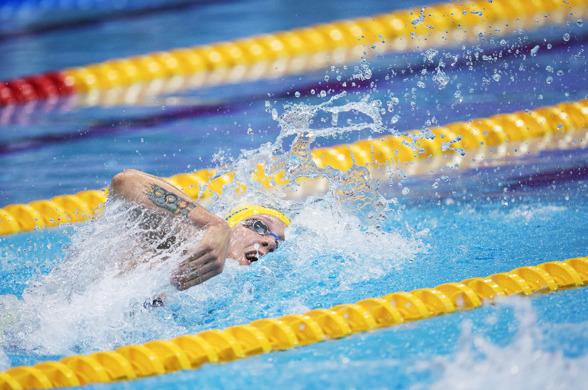 Fjärdeplats i försöken på 100m fritt för Sarah Sjöström på 100m fritt
