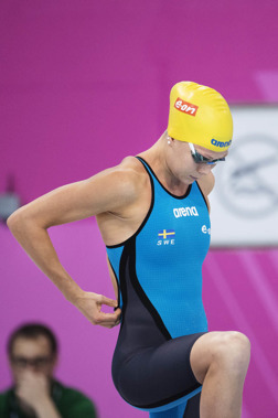 Henriette Stenkvist inför 200m fritt i dagens försökstävlingar
