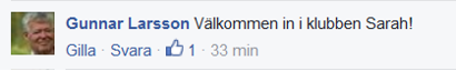 Så här skrev Gunnar Larsson på Facebook ikväll och grattade Sarah!