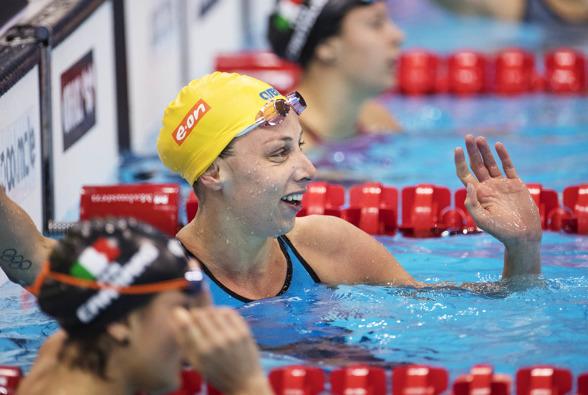 Jennie Johansson första lopp i EM-bassängen