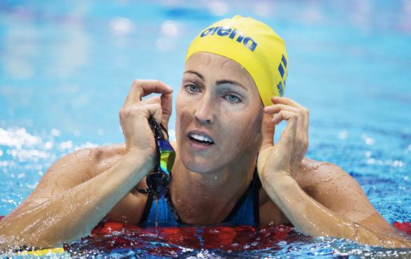 Therese Alshammar blev sist i dagens final på 50m fritt.