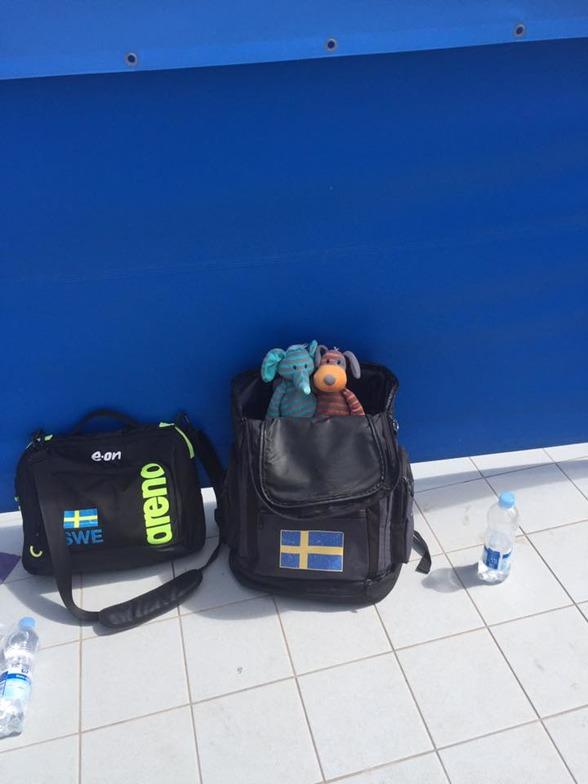 Det svenska lagets maskotar hejar vilt från Sverige-väskan på sina lagkamrater.