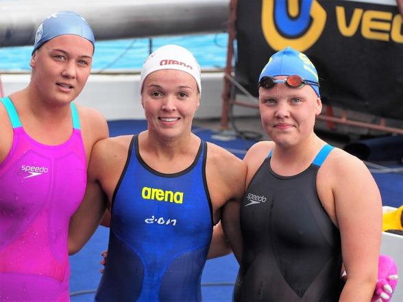 Prispallen på 400m medley damer