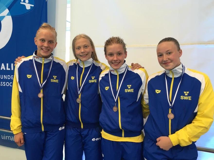 Sverige 3.a 4.01.24 Hanna Bergman 1.00.53 Wilma Persson 1.00.54 Alicia Lundblad 59.88 Linnea Englund 1.00.29