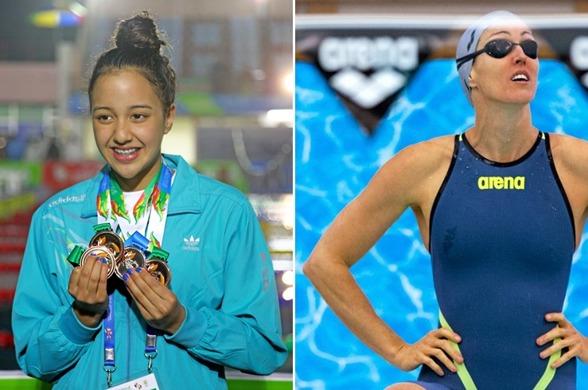 Äldst och yngst bland OS-simmarna.  Gaurika Singh, Nepal yngst av alla 13 år och äldst Therese Alshammar 38 år