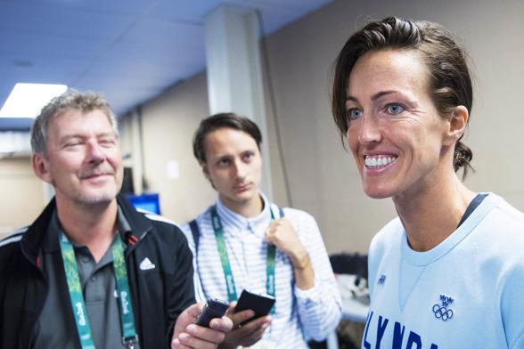 Therese Alshammar i samtal med den svenska pressen vid dagens pressträff med det svenska landslaget i Rio.