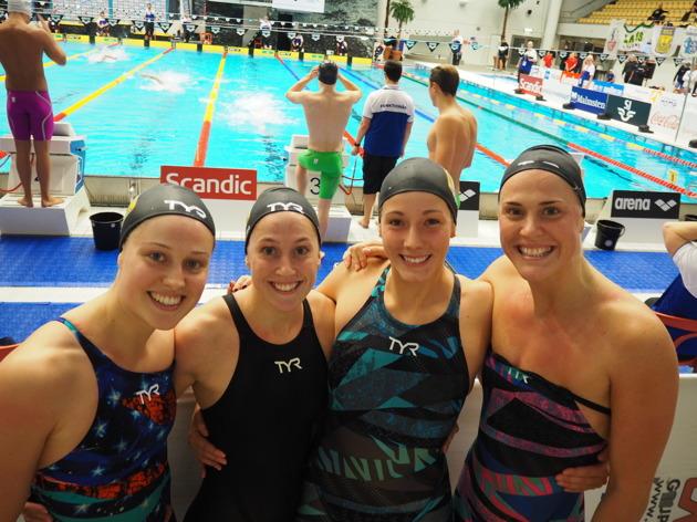 Malmös segrande medleylag, Emma Johansson, Ida Lindborg, Emma JAnsson och Nathalie Lindborg.