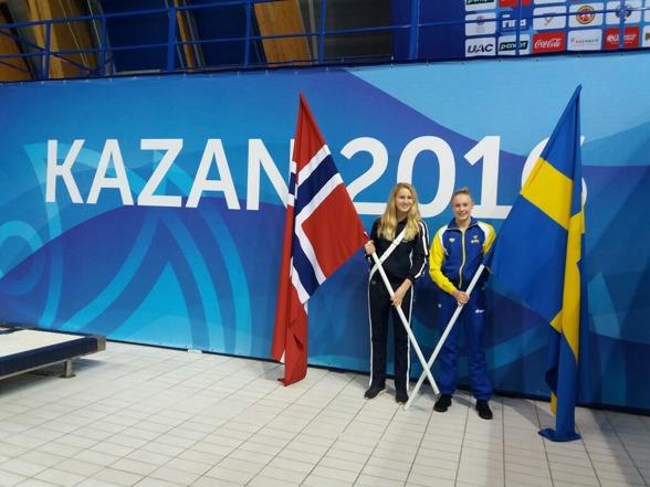 Emma Görebrant Gullstrand under invigningen av Junior VM i Kazan 2016. På onsdagen startar hennes tävlingar med Flickor A 1m.