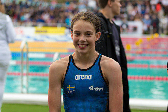 Julia Månsson - Örebro SA var den ende som slog Sum-Sim rekord på förmiddagen.