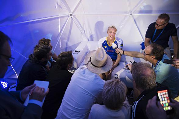 Tisdagens internationella presskonferens för Sarah SJöström.