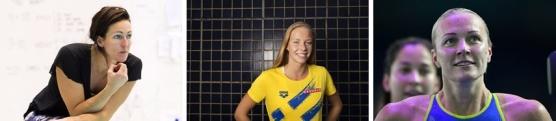Top 3 genom tiderna på 100m fjäril i Sverige på kort bana: Therese Alshammar, Louise Hansson och Sarah Sjöström