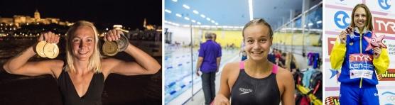 Top 3 i Sverige under 2017 på 100m fjärilsim: Sarah Sjöström, Hanna Rosvall och Sara Junevik