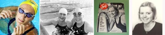 Här några av simmerskorna som har tagit SM-guld på 100m fjärilsim. Frv. den som har tagit flest SM-guld på distansen, Johanna Sjöberg (9), Agneta Eriksson (7) Västeråssimmerskan har tagit näst flest,