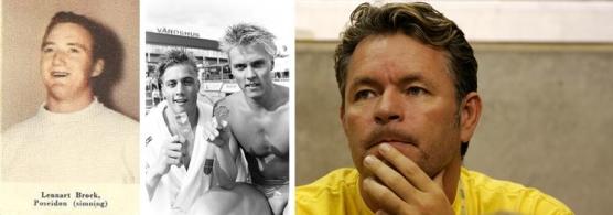 Här en trio svenska mästare i bröstsim över 100 meter i kort ba. Frv. Lennart Brock, bröderna Stensson från Hagfors (Anders tv och Jan th) och Hasse Bergqvist (sedemera också förbundskapten i simning.
