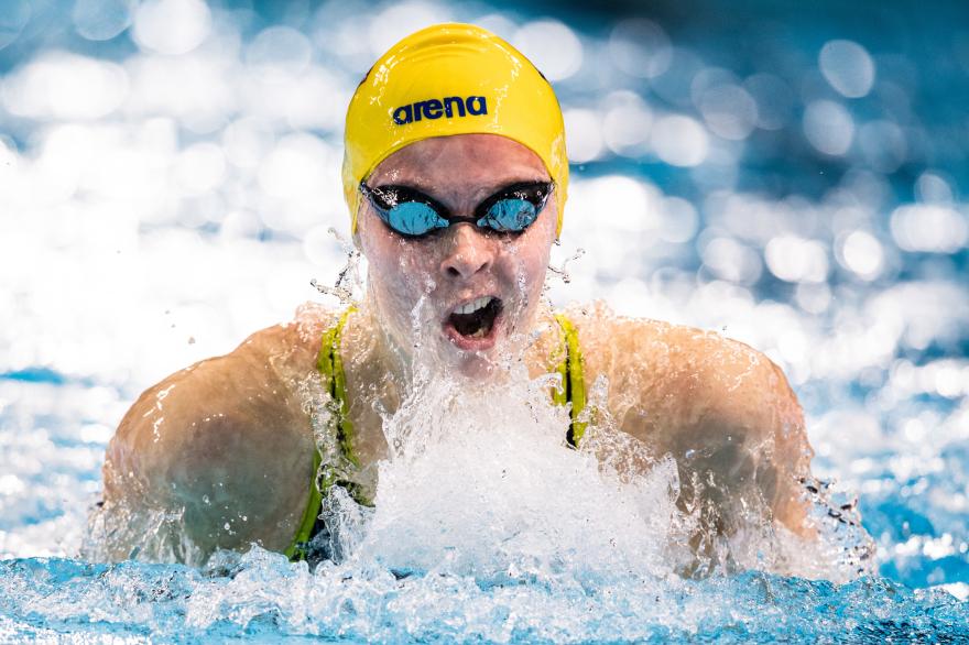 Sophie Hansson svarade för bästa placeringen denna afton för di  svenske - en sjätteplats - på 100m bröstsim