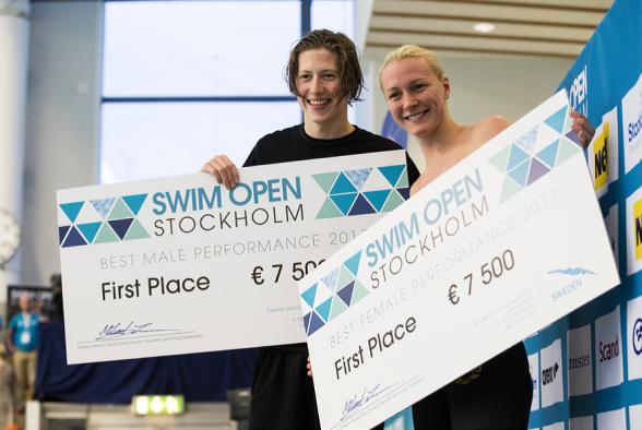 Norske Henrik Christiansen och Sarah Sjöström vann Swim Open 2016 och 2017.