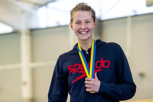 Sophie Hansson under 1.08 på 100m brölstsim var hon nöjd med idag!