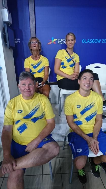 Teamet. Sportchef Ulrika, fysio Madeleine, tränare Pär och Nathan