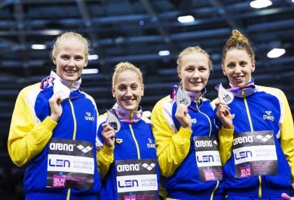 Det svenska medleylaget från EM i Berlin. Laget som tog silver bestod av Michelle Coleman, Ida LIndborg, Sarah Sjöström och Jennie Johansson