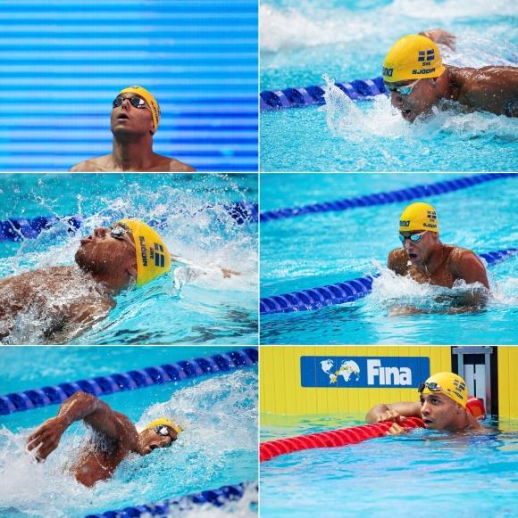Simon SJödin - före-under och efter 200m medley idag
