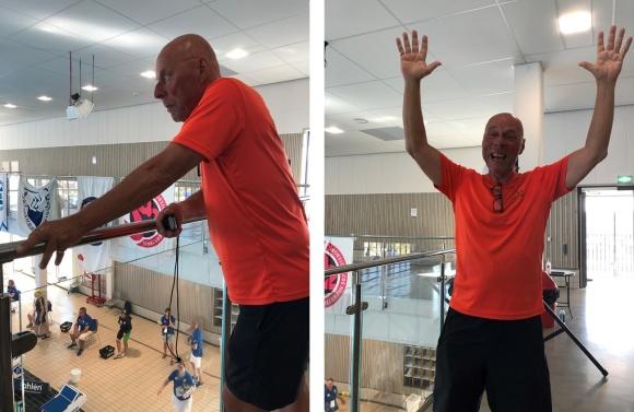 Kiviks coach Anders Molin studerar och gläds efter ännu en bra simning av Thea Brünjes på 200m fjärilsim