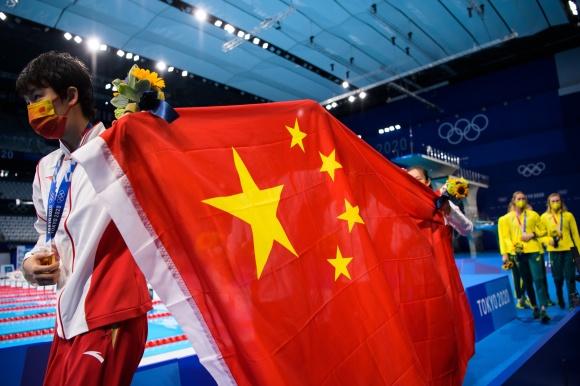 Kinesiskt firande efter världsrekordet på 4x200m fritt