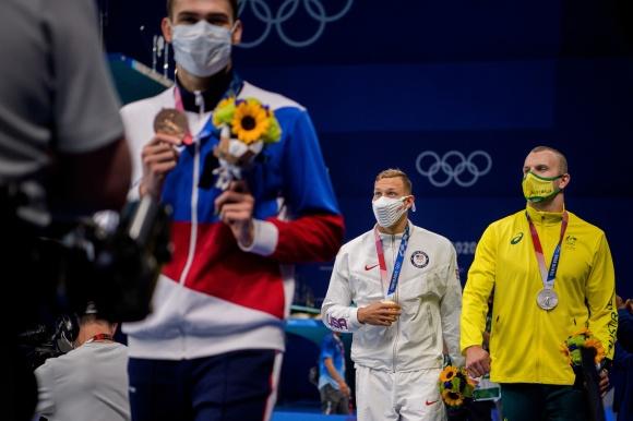 Medaljörerna på 100m fritt herrar