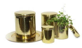 Set/4 Mässingförvaring - Cans - Brass - Hammered
