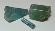 Akvamarinkristaller inköpta för Ädelstensakademins räkning på House of Gems i Windhoek i Namibia.