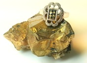 Pyrit infattat i silver på en pyritstuff från Malmberget.